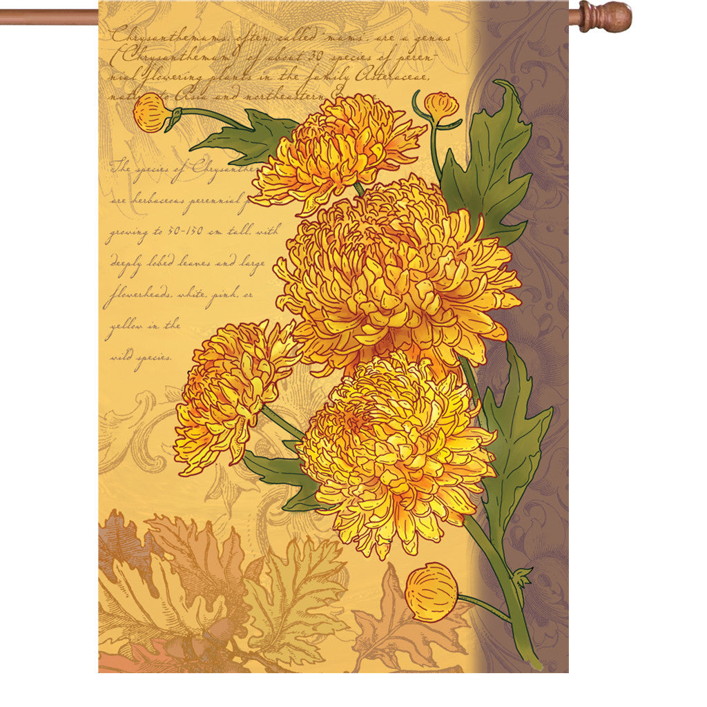 28 in. Vintage Floral House Flag - Chrysanthemums