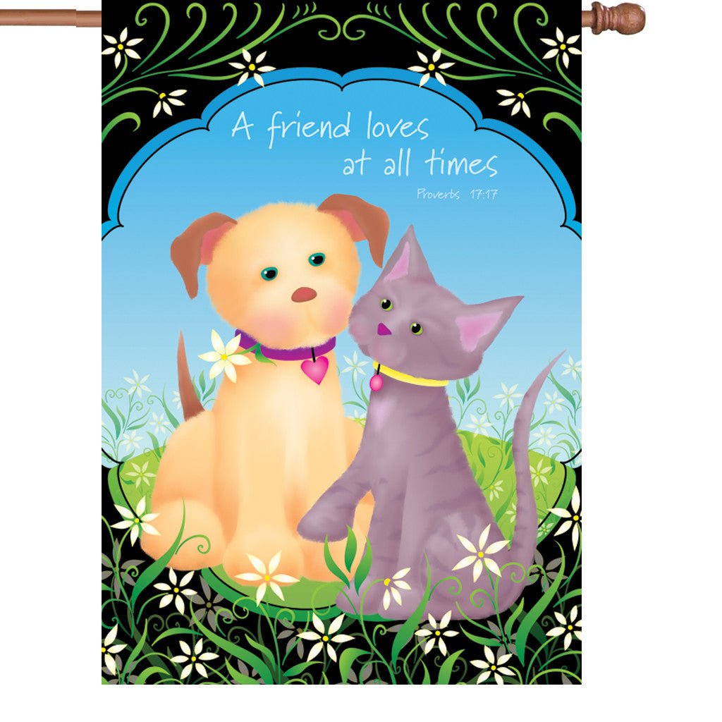 28 in. Puppy & Kitten House Flag  - A Friend Loves