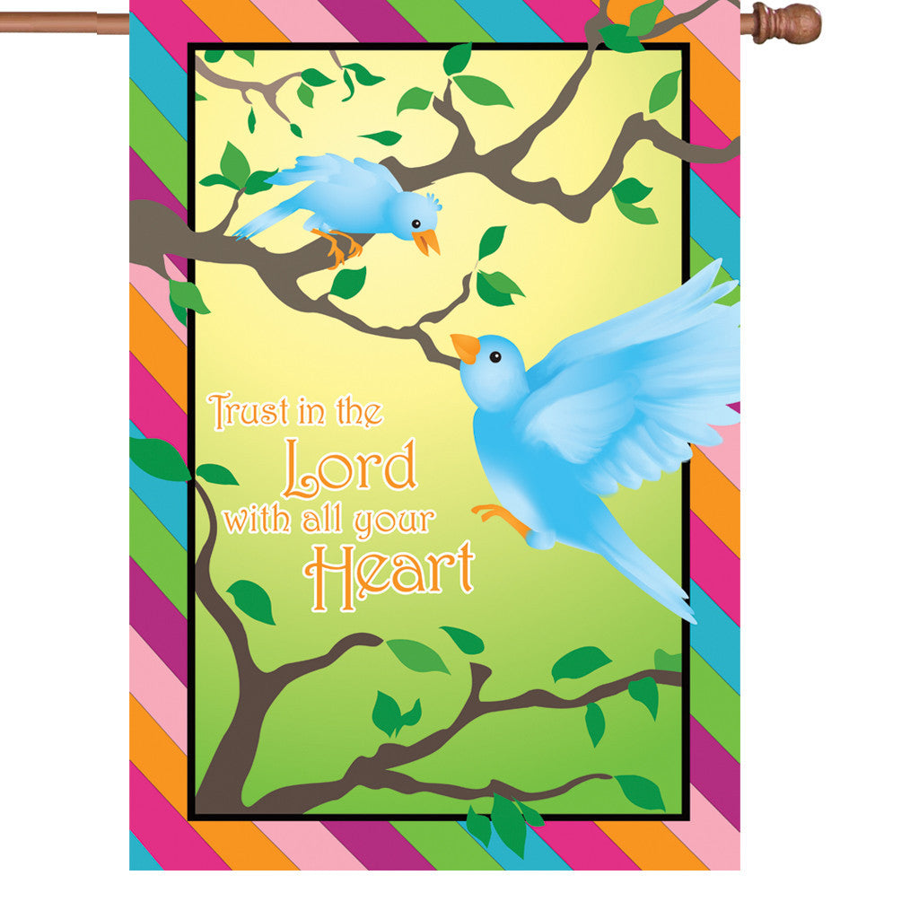 28 in. Christian Bird House Flag - Trust in the Lord