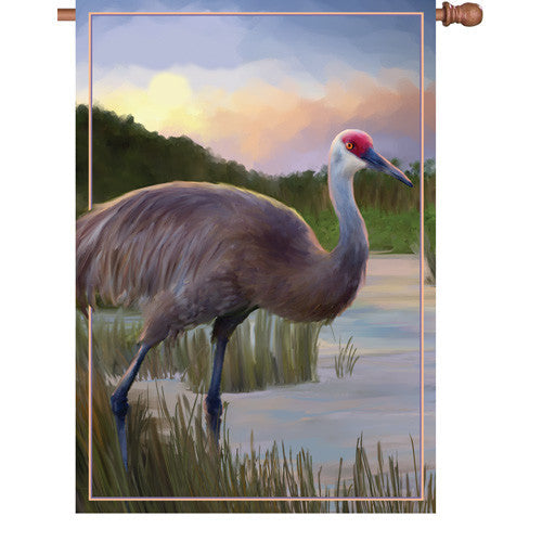28 in. Coastal Bird House Flag - Sandhill Crane