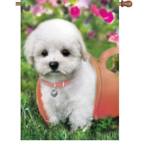 28 in. Bichon Frise Dog House Flag - Puppy Love
