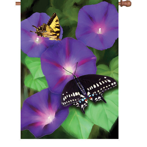28 in. Butterfly House Flag - Morning Glory Swallowtails