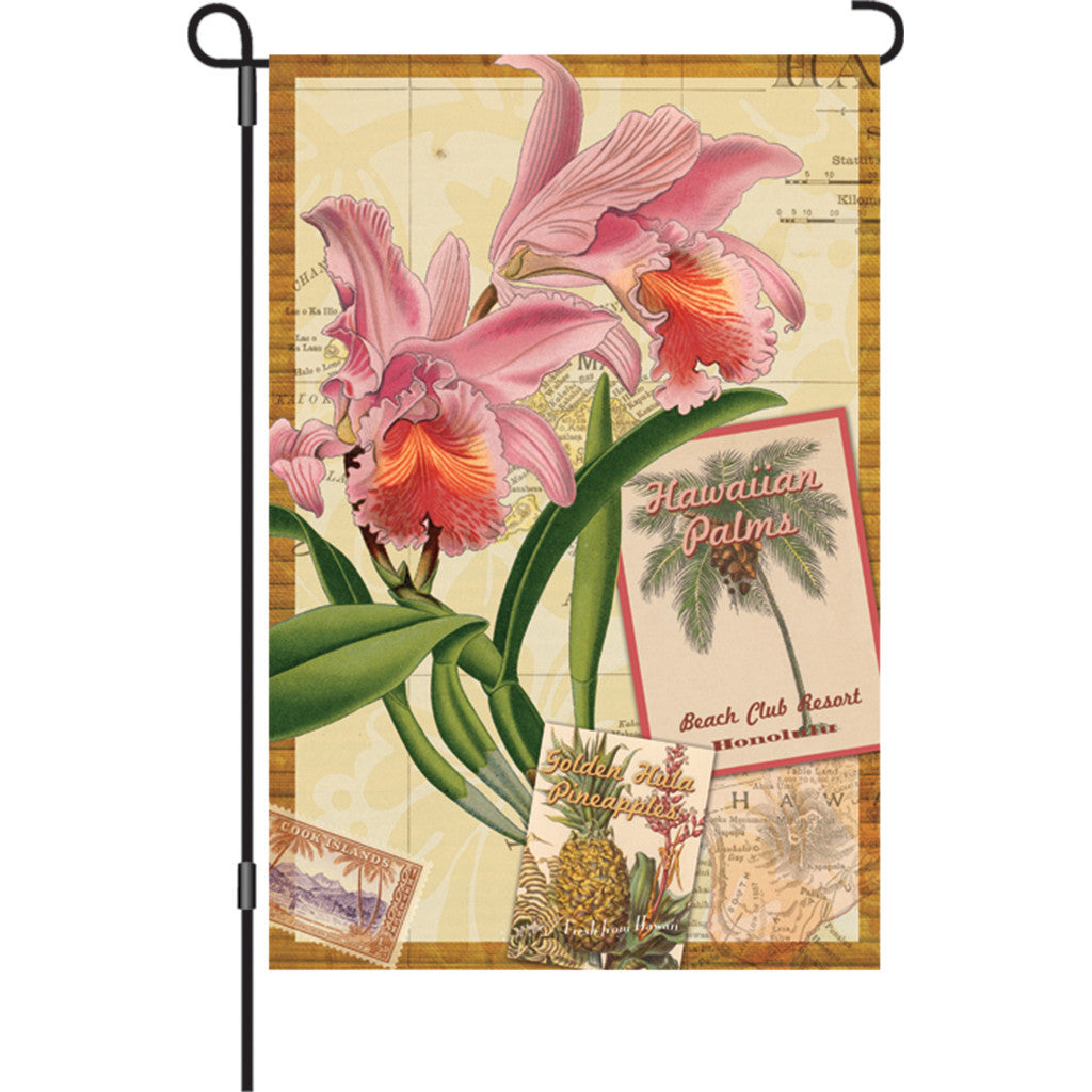 12 in. Vintage Garden Flag - Aloha Orchid