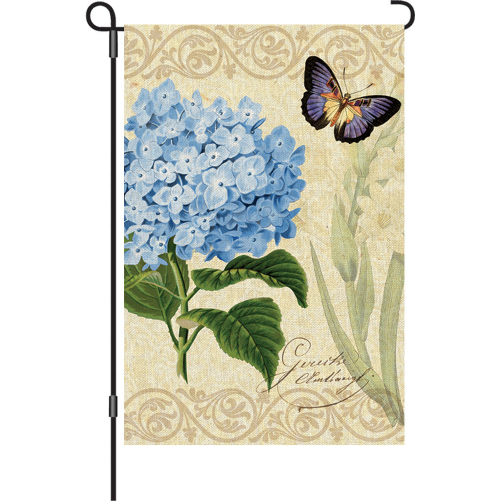 12 in. Vintage Garden Flag - Botanical Fresh Blue