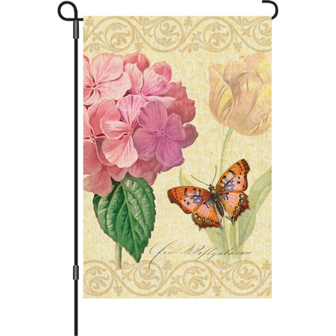 12 in. Vintage Garden Flag - Botanical Fresh Pink