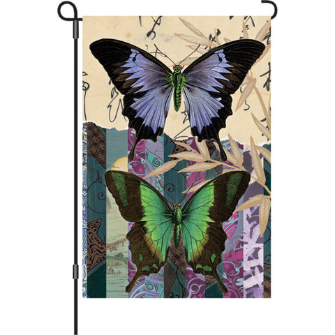12 in. Vintage Garden Flag - Asian Butterflies