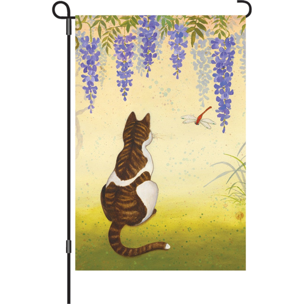 12 in. Cat & Dragonfly Garden Flag - Wisteria Cat