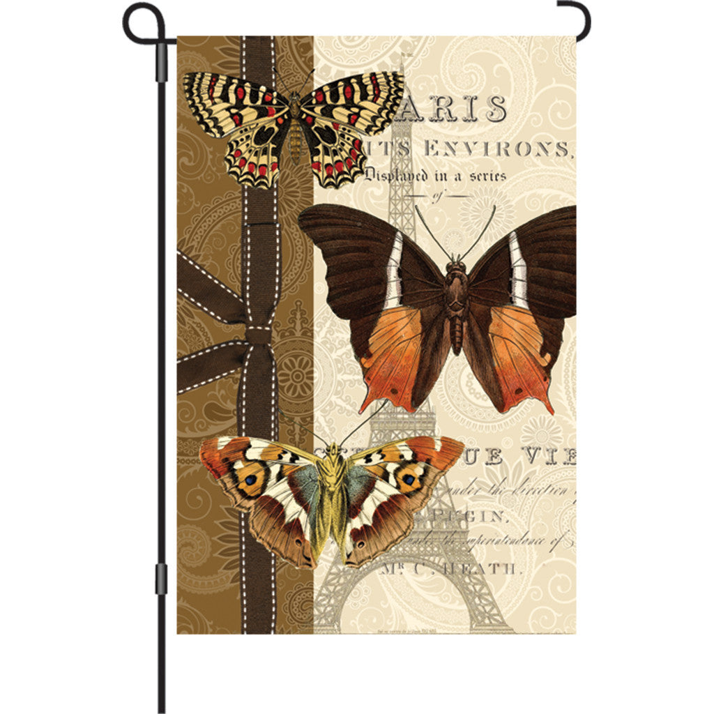 12 in. Heirloom Butterfly Garden Flag - Parisian Pappillon
