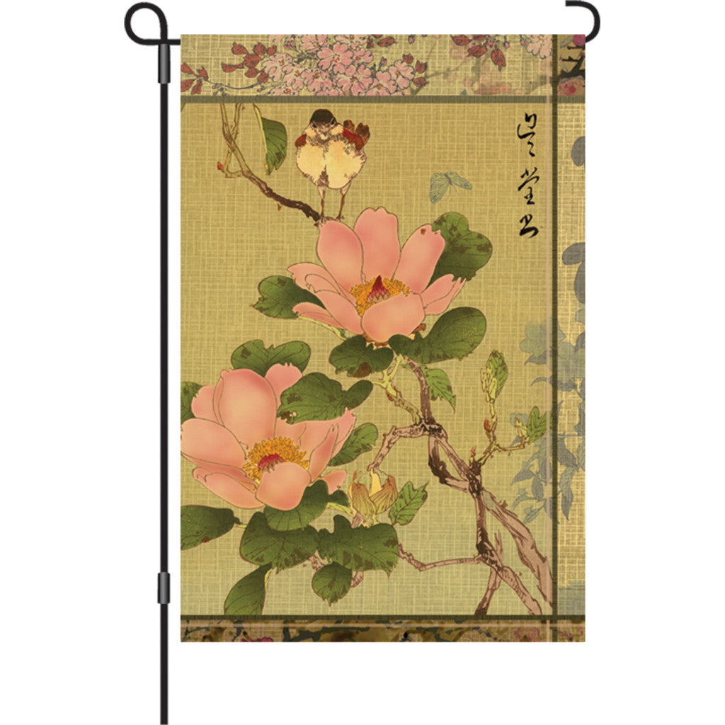 12 in. Asian Garden Flag - Peony and Bird