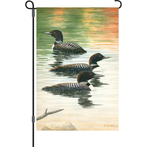 12 in. Loon Garden Flag - Late Summer Trio
