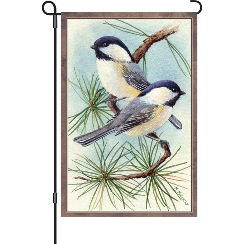 12 in. Winter Snow Bird Garden Flag - Chickadee Vignette