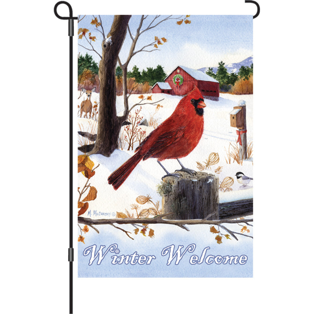 12 in. Winter Snow Bird Garden Flag - Cardinal Morning