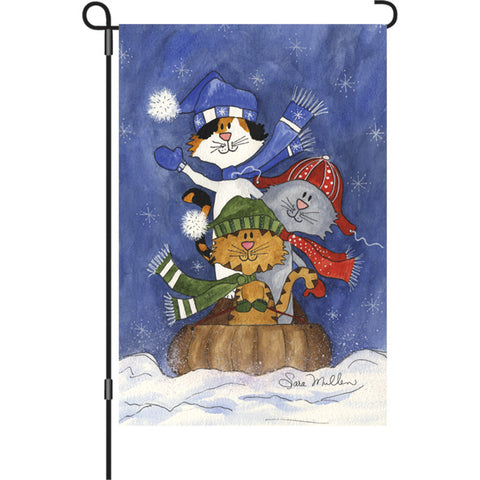 12 in. Christmas Cats Garden Flag - Sledding Friends