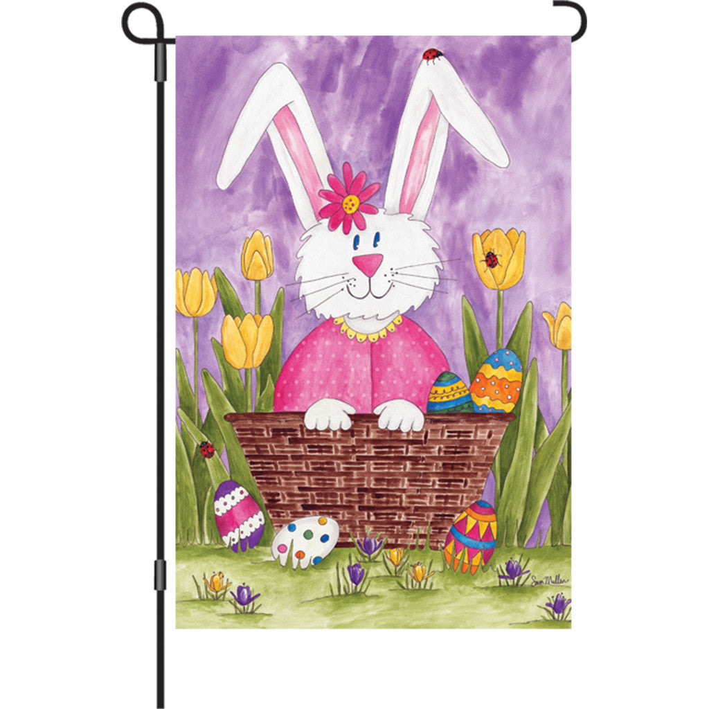 12 in. Easter Garden Flag - Bunny and Tulips