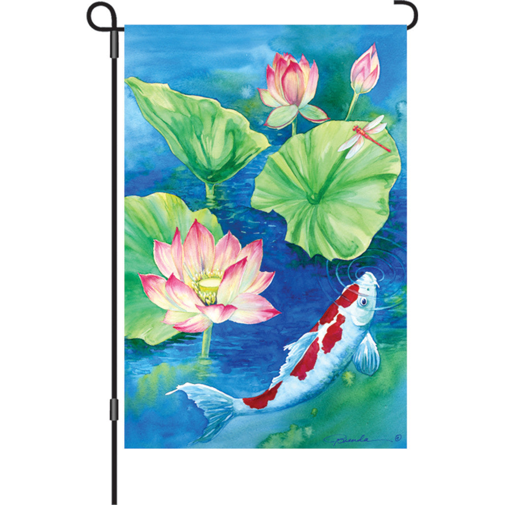12 in. Lilly Pad Pond Garden Flag - Lotus Koi