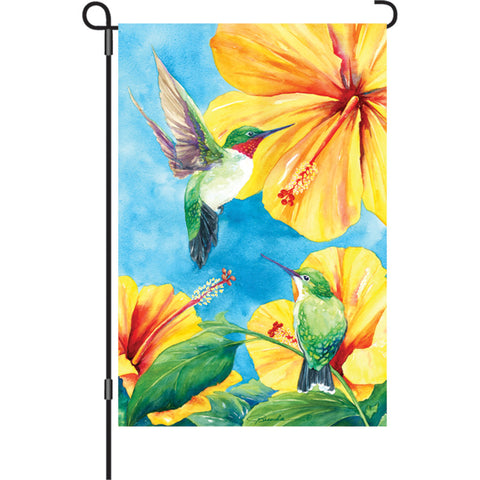 12 in. Bird Garden Flag - Hummingbird and Hibiscus