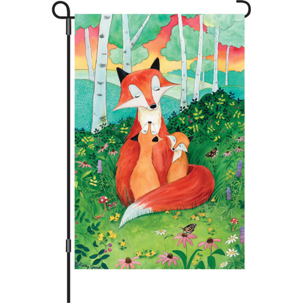 12 in. Woodland Fairytale Garden Flag - Fox Family