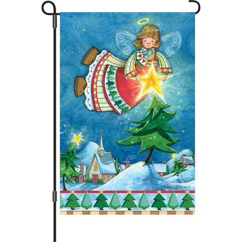 12 in. Christmas Garden Flag - Happy Christmas Angel