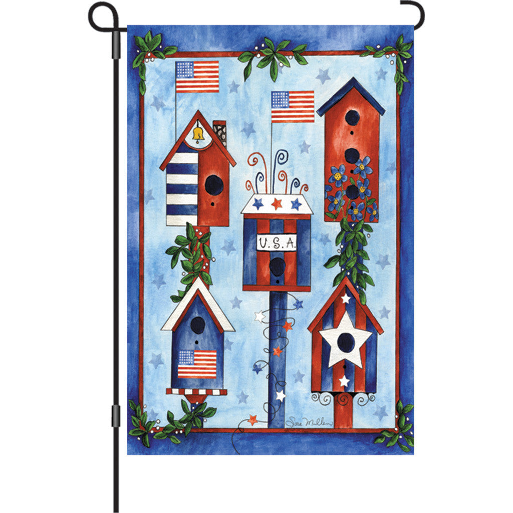 12 in. Patriotic/Memorial Day Garden Flag - Red, White and Blue Birdhouse