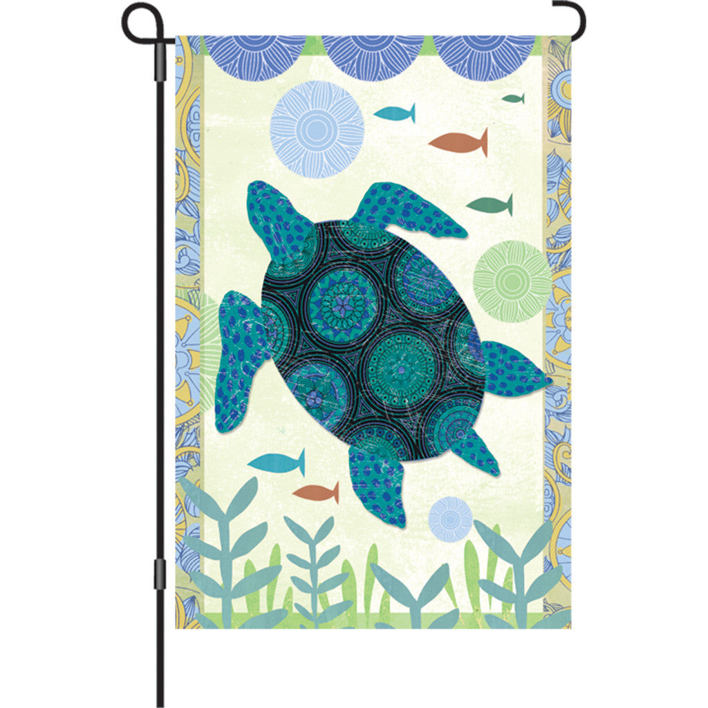 12 in. Patchwork Garden Flag - Blue Turtle