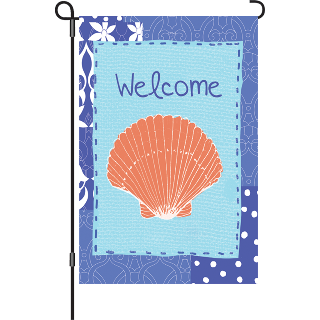 12 in. Welcome Garden Flag - Coastal Shell