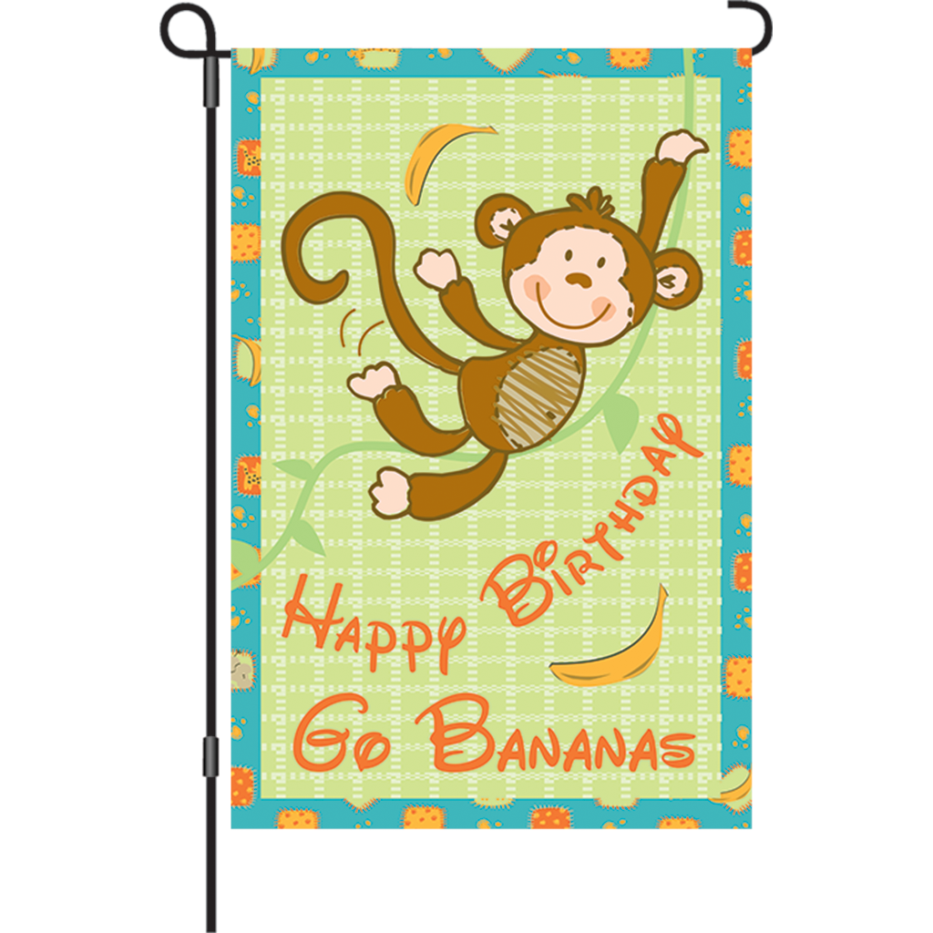 12 in. Party Monkey Garden Flag - Go Bananas!