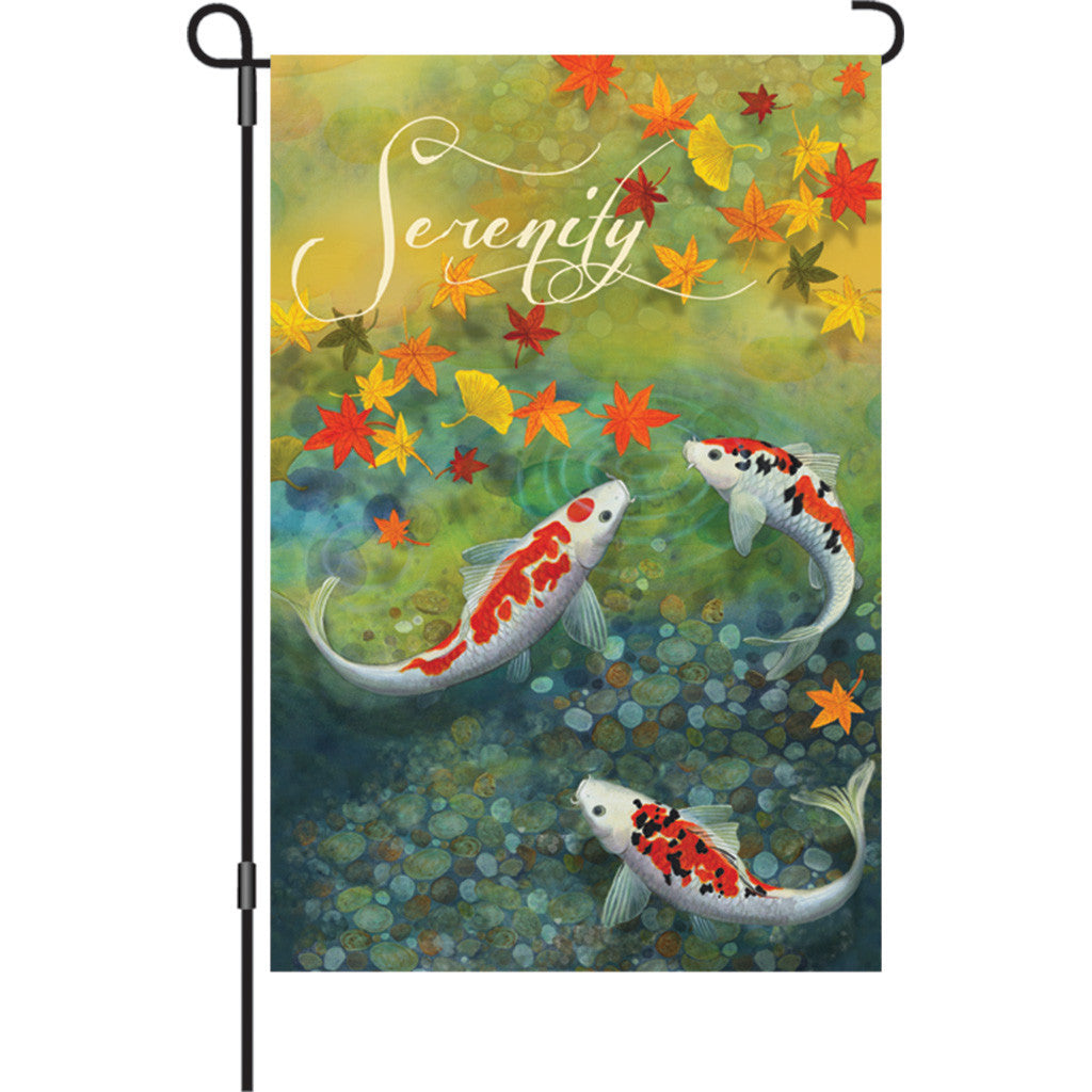 12 in. Koi Pond Garden Flag - Autumn Pond