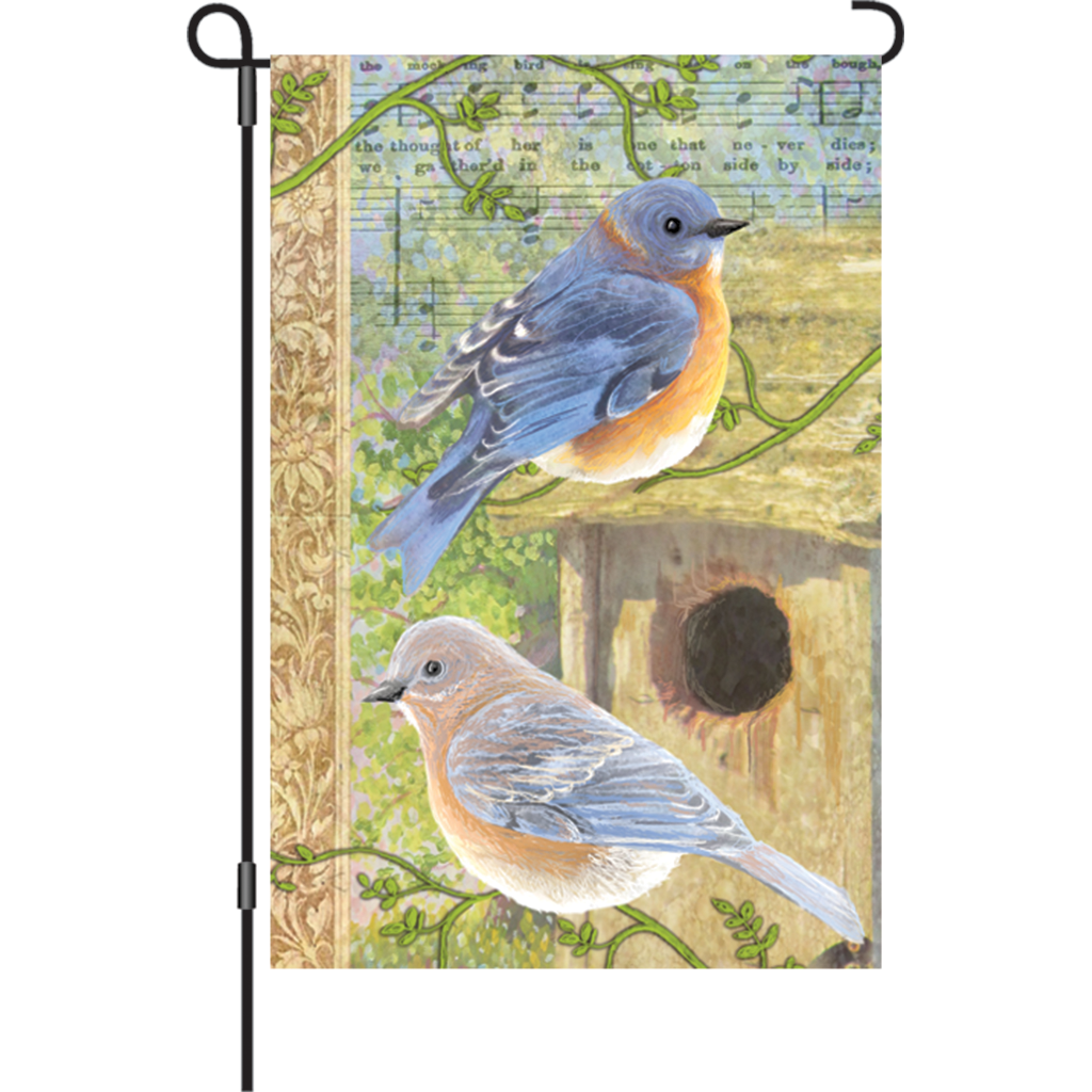 12 in. Vintage Garden Flag - Musical Bluebirds