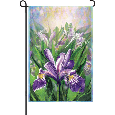 12 in. Flowers Garden Flag - Blue Iris