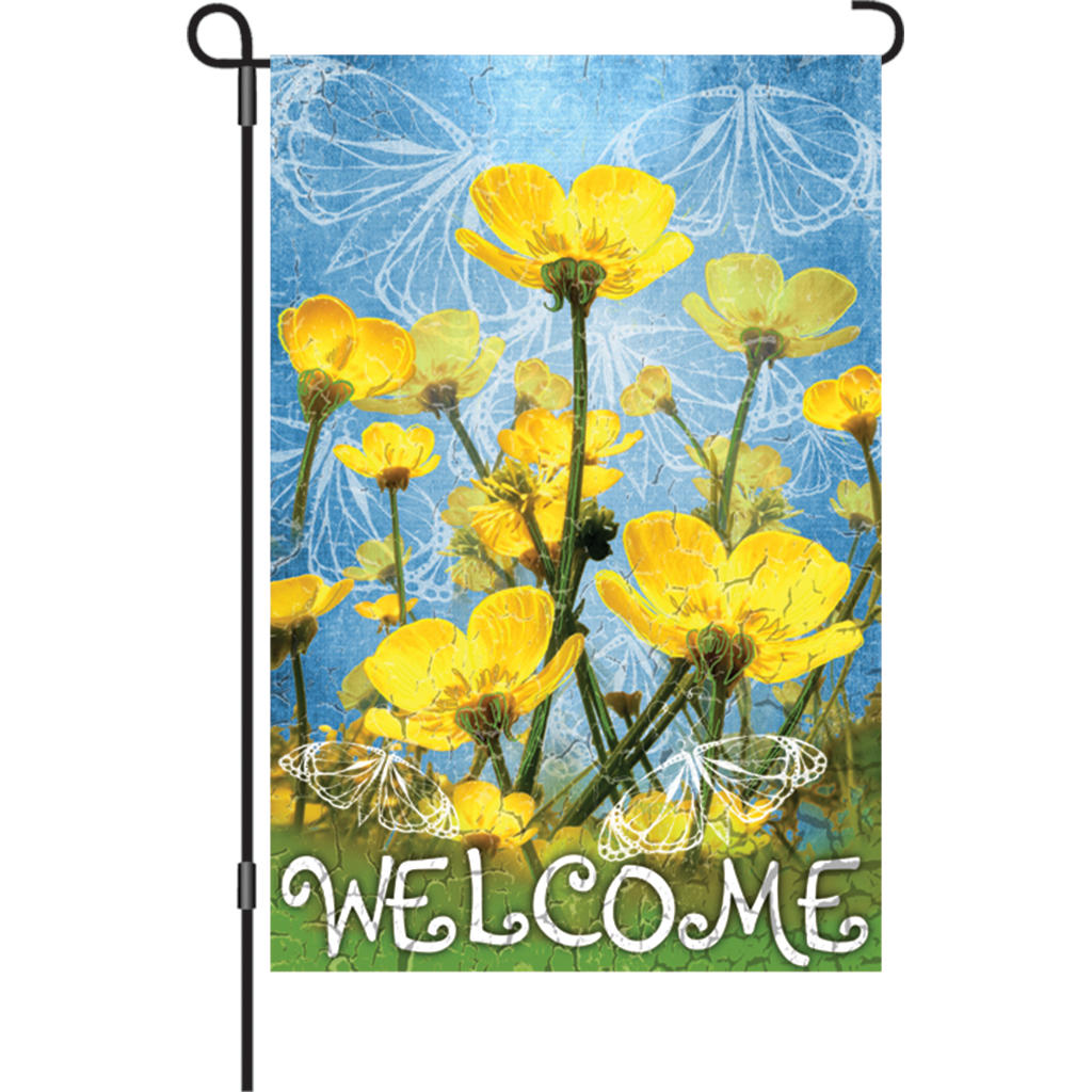 12 in. Flower Garden Flag - Buttercup Welcome