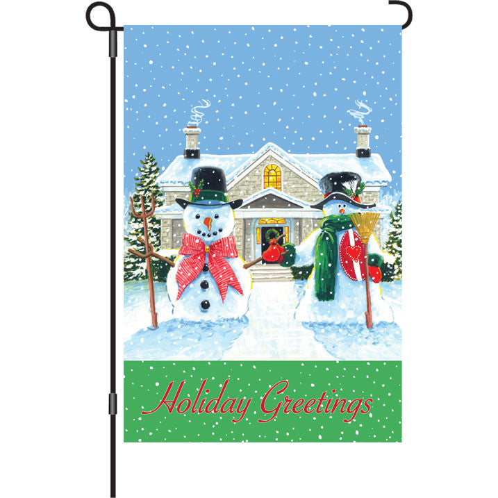 12 in. Holiday Greetings Garden Flag - American Snowman