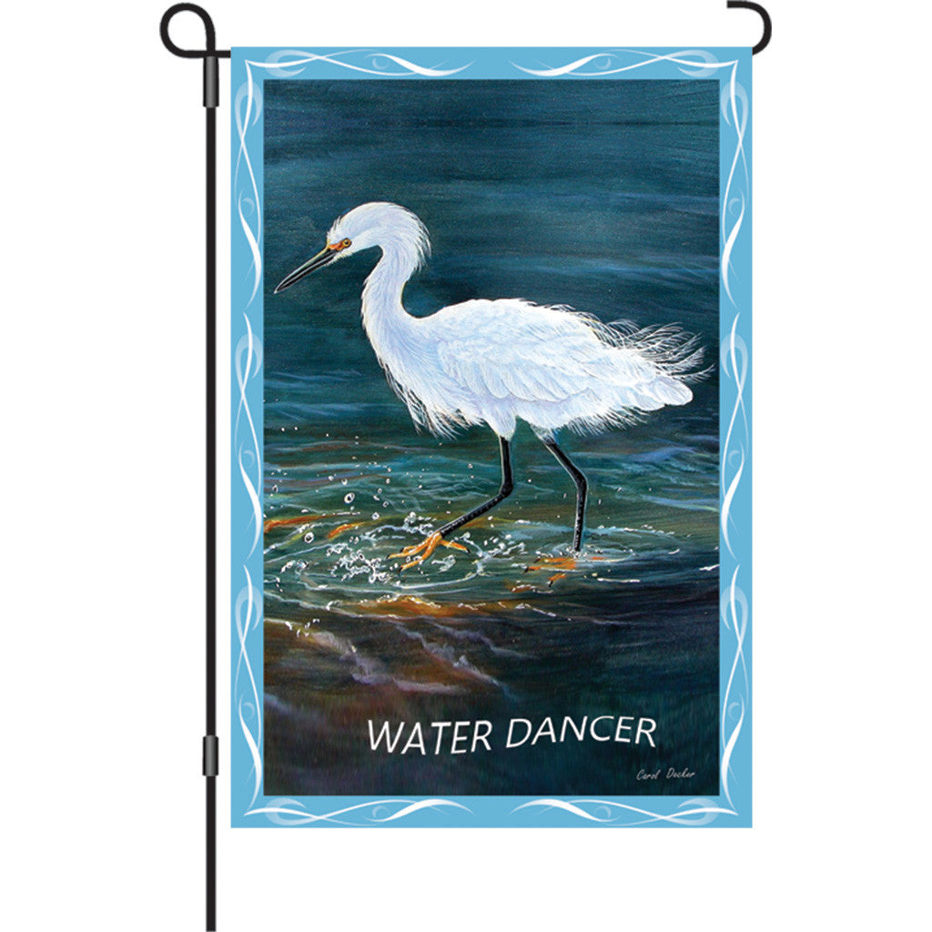 12 in. Egret Garden Flag - Water Dancer