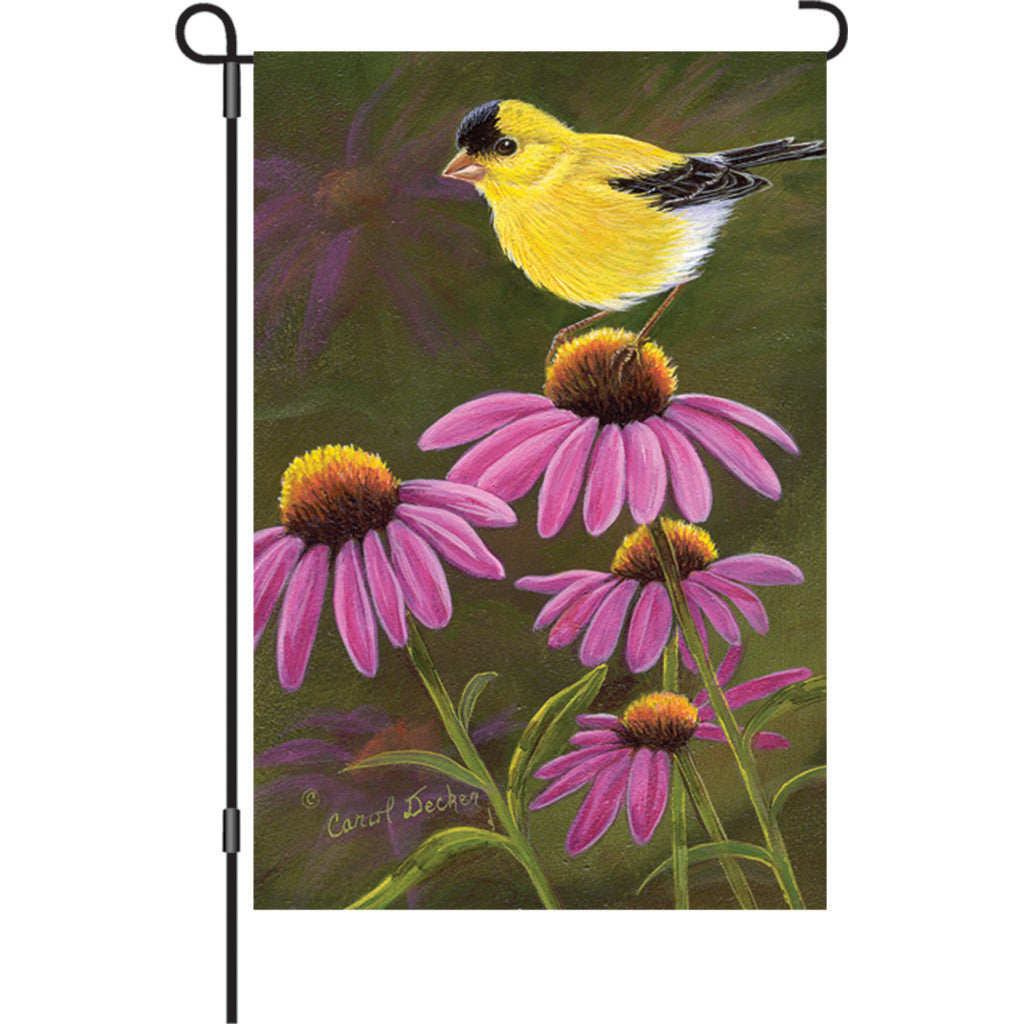 12 in. Summertime Bird Garden Flag - Goldfinch on Cone Flowers