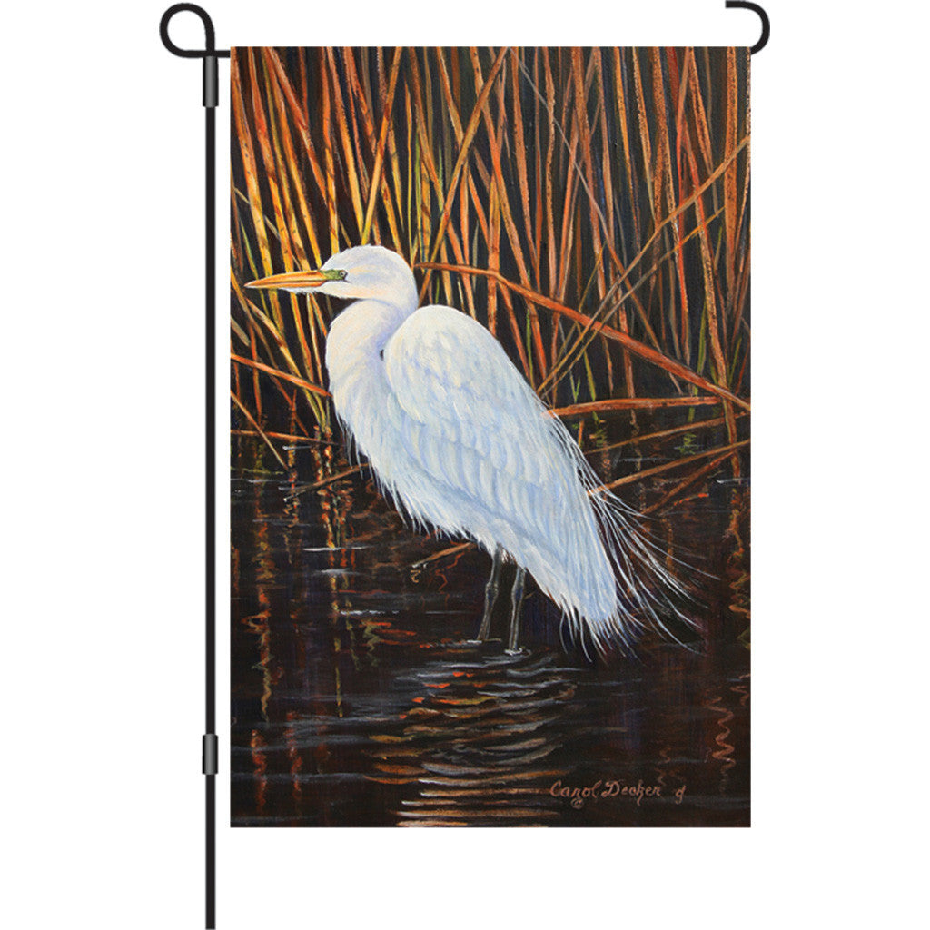 12 in. Marsh Wetland Garden Flag - Egret
