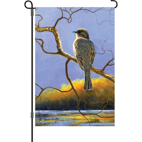 12 in. Autumn Bird Garden Flag - Phoebe