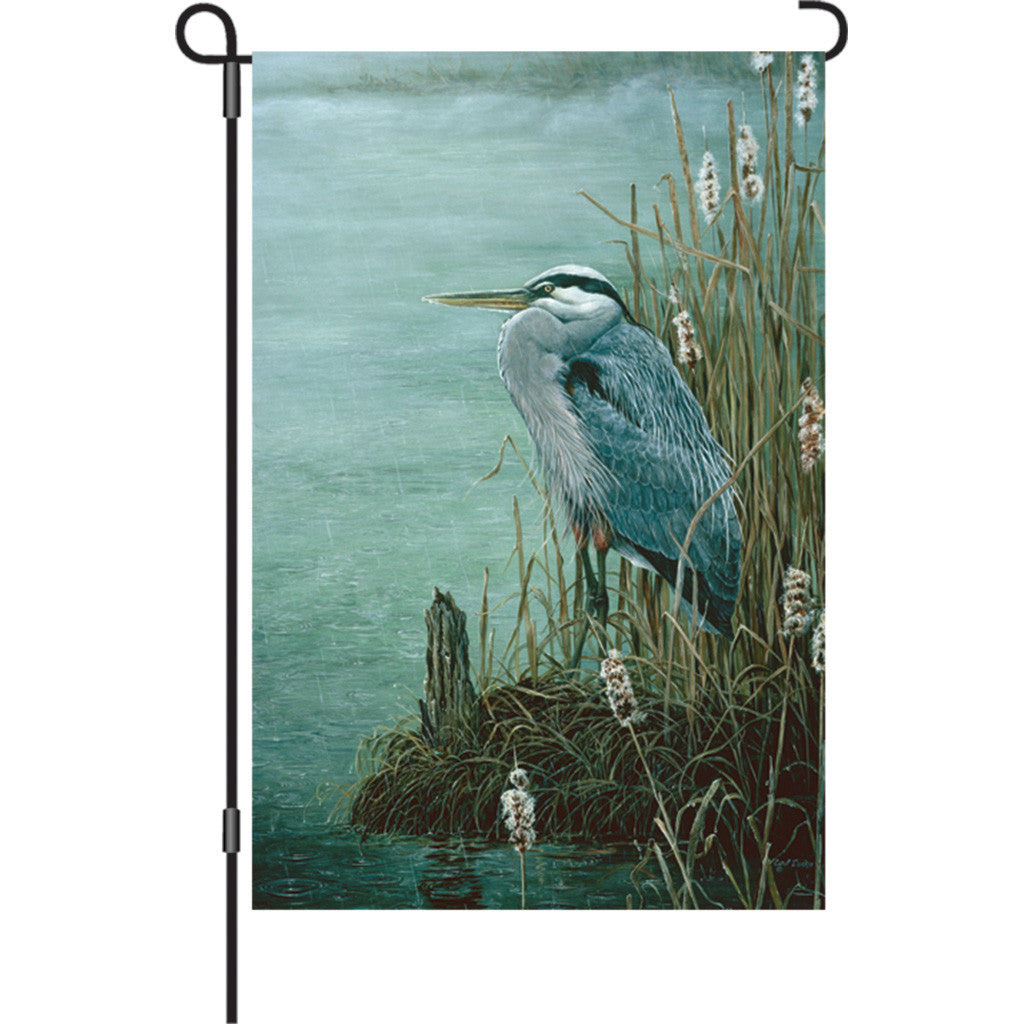 12 in. Blue Heron Bird Garden Flag - Rainy Day