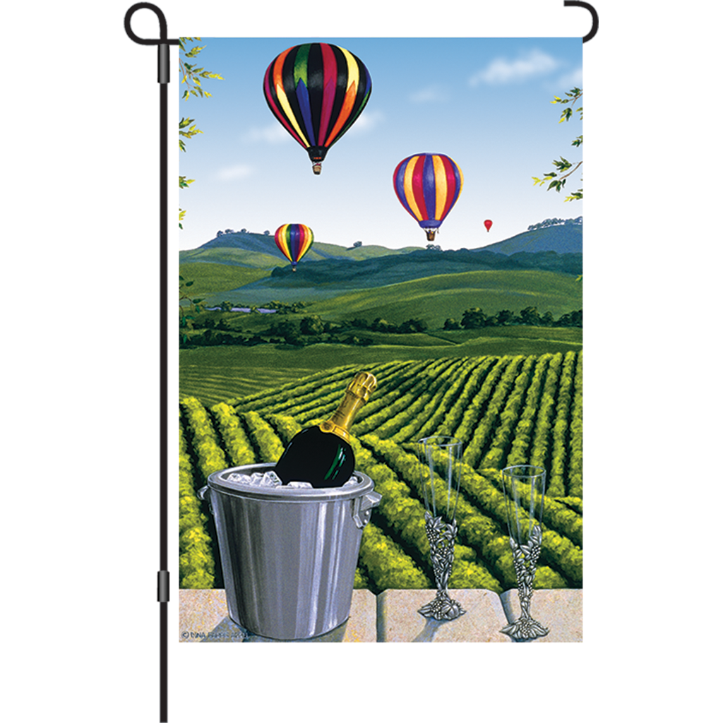12 in. Vineyard Garden Flag - Waiting for the Winner