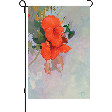 12 in. Summer Bird Garden Flag - Hibiscus Hummingbird