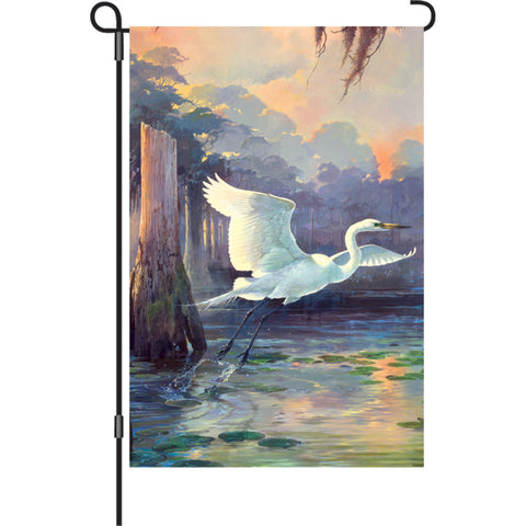 12 in. Marsh Bird Garden Flag - Heron Sunrise