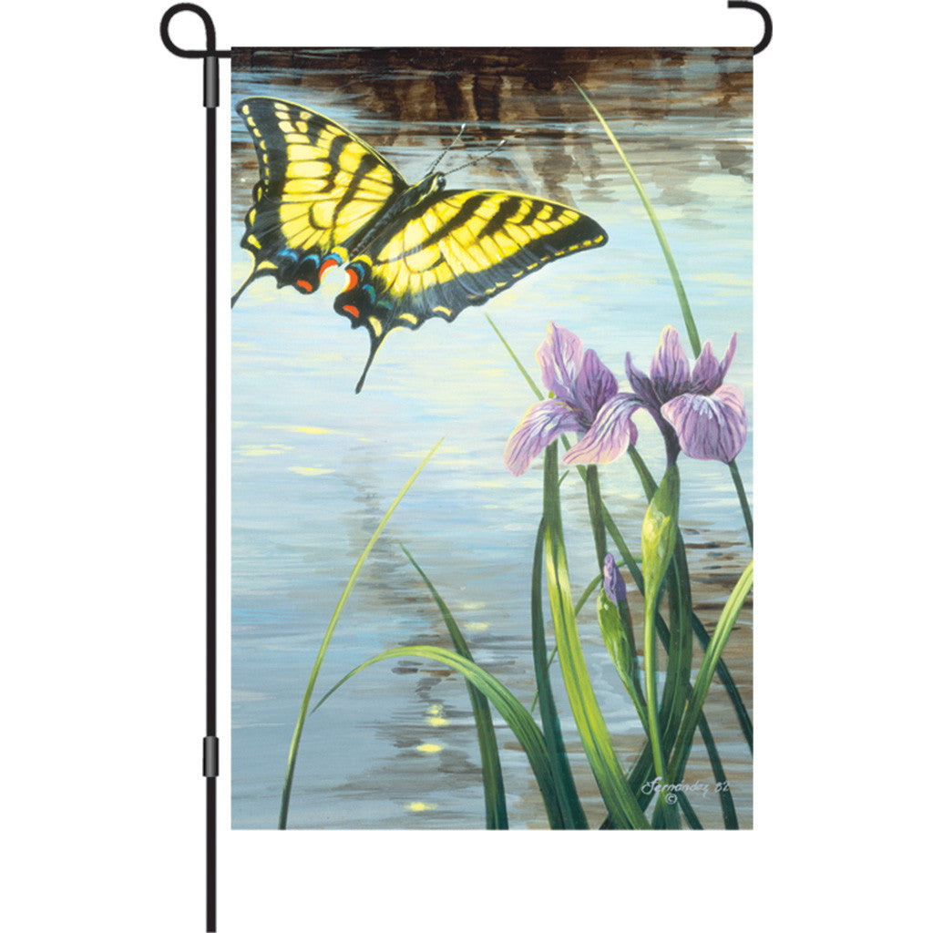 12 in. Butterfly Garden Flag - Swallowtail & Iris