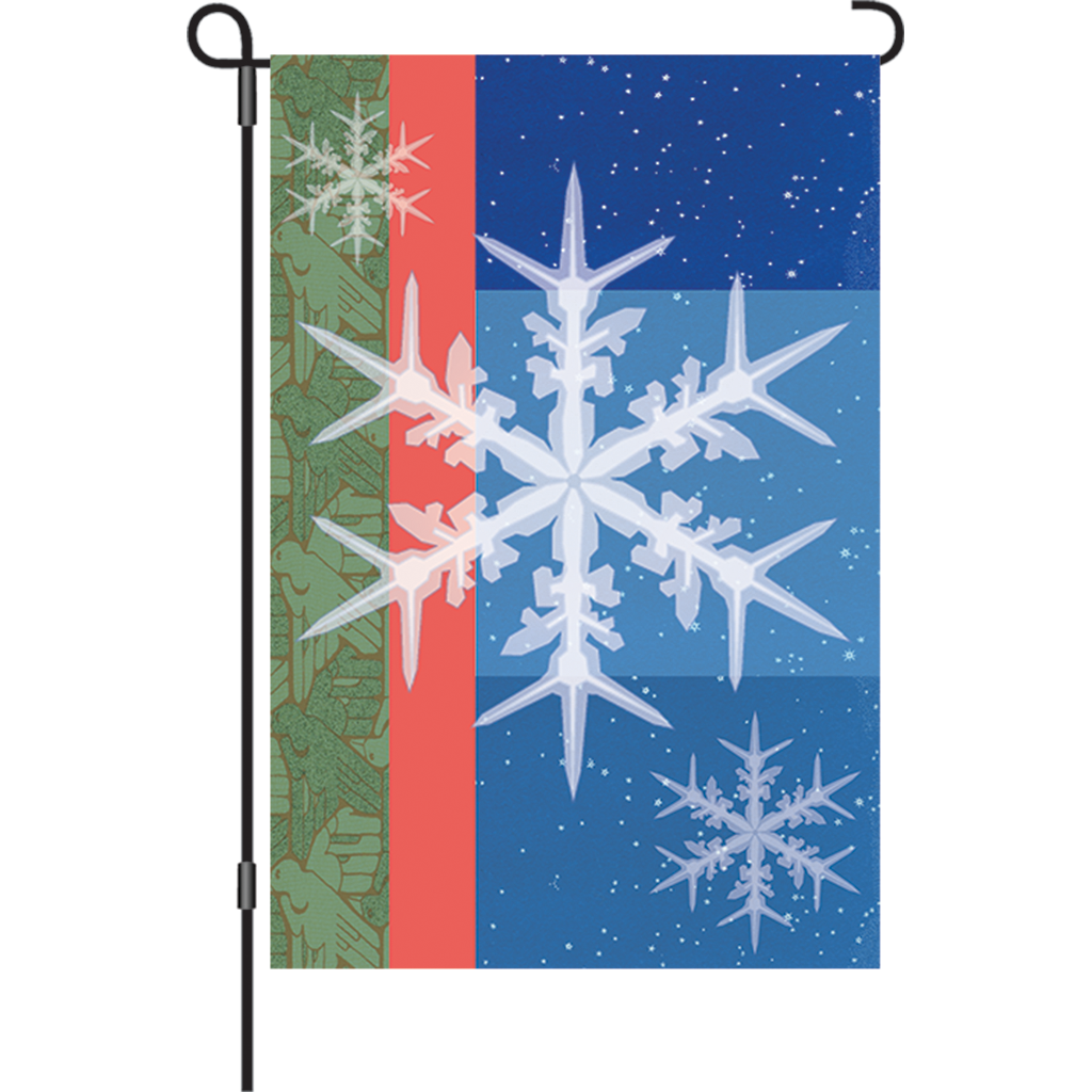 12 in. Christmas Garden Flag - Snowflakes