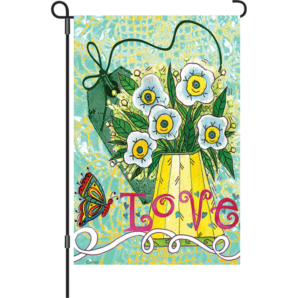 12 in. Valentine's Day Garden Flag - Love Makes Me Happy