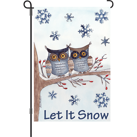 12 in. Christmas Garden Flag - Owls in the Snow