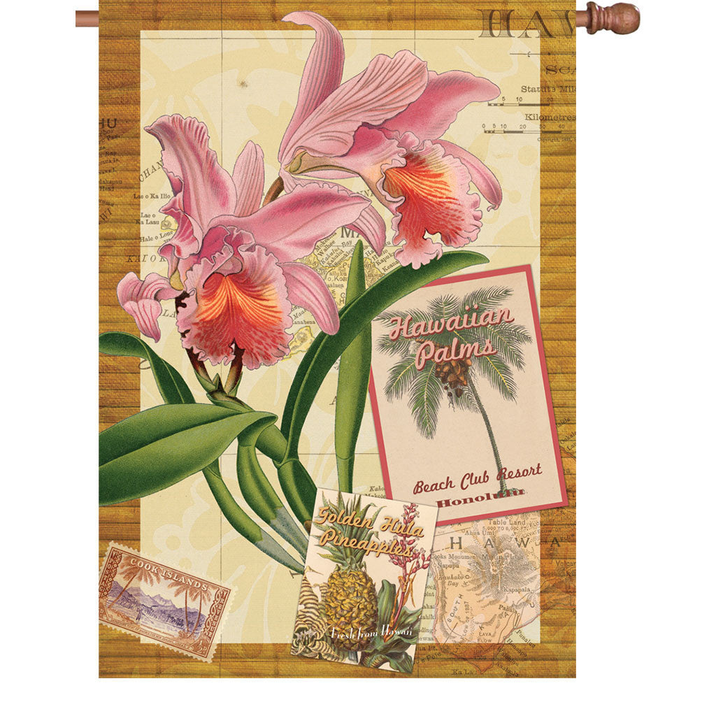 28 in. Vintage House Flag - Aloha Orchid