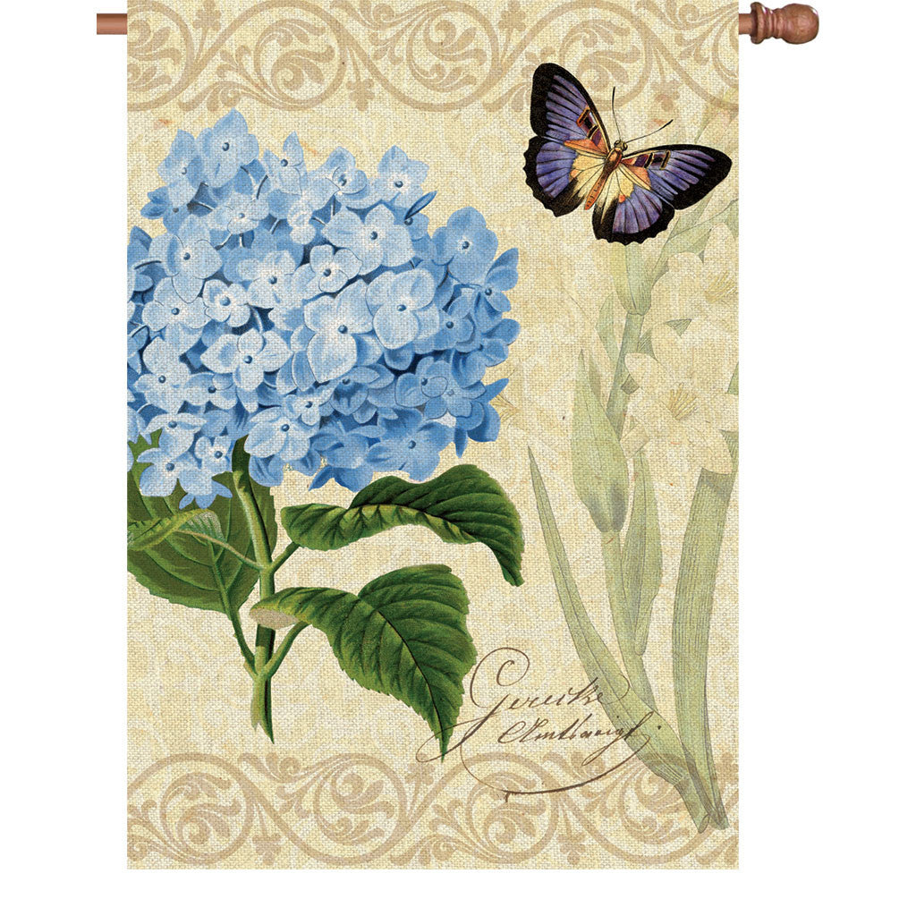 28 in. Vintage House Flag - Botanical Fresh Blue