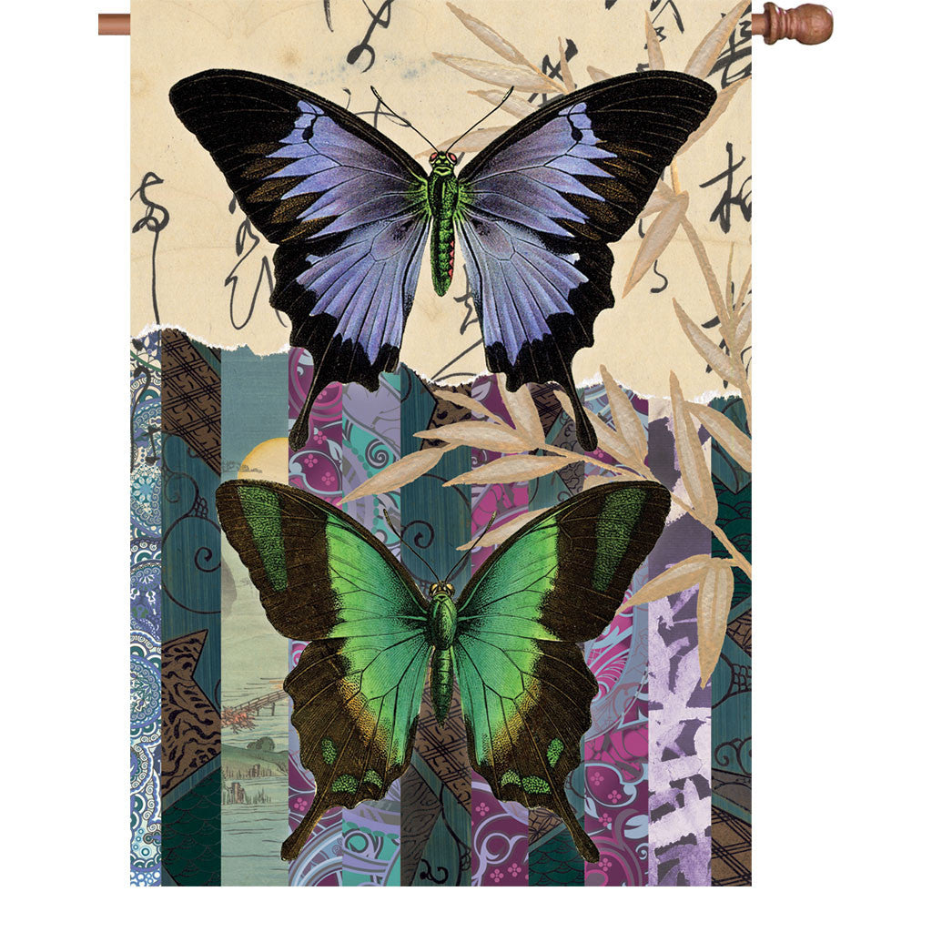 28 in. Vintage House Flag - Asian Butterflies