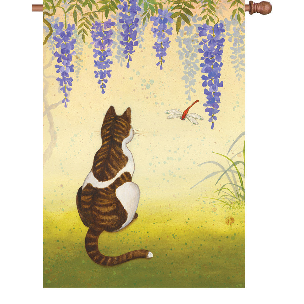 28 in. Cat & Dragonfly House Flag - Wisteria Cat