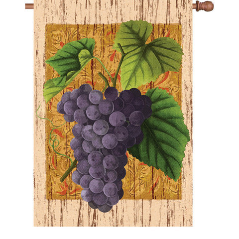 28 in. Vineyard House Flag - Grape Vine