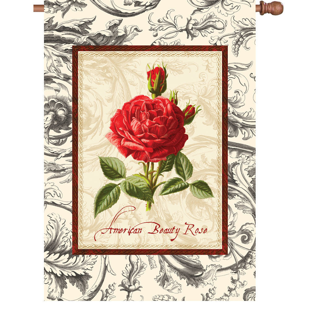 28 in. Vintage House Flag - American Beauty Rose