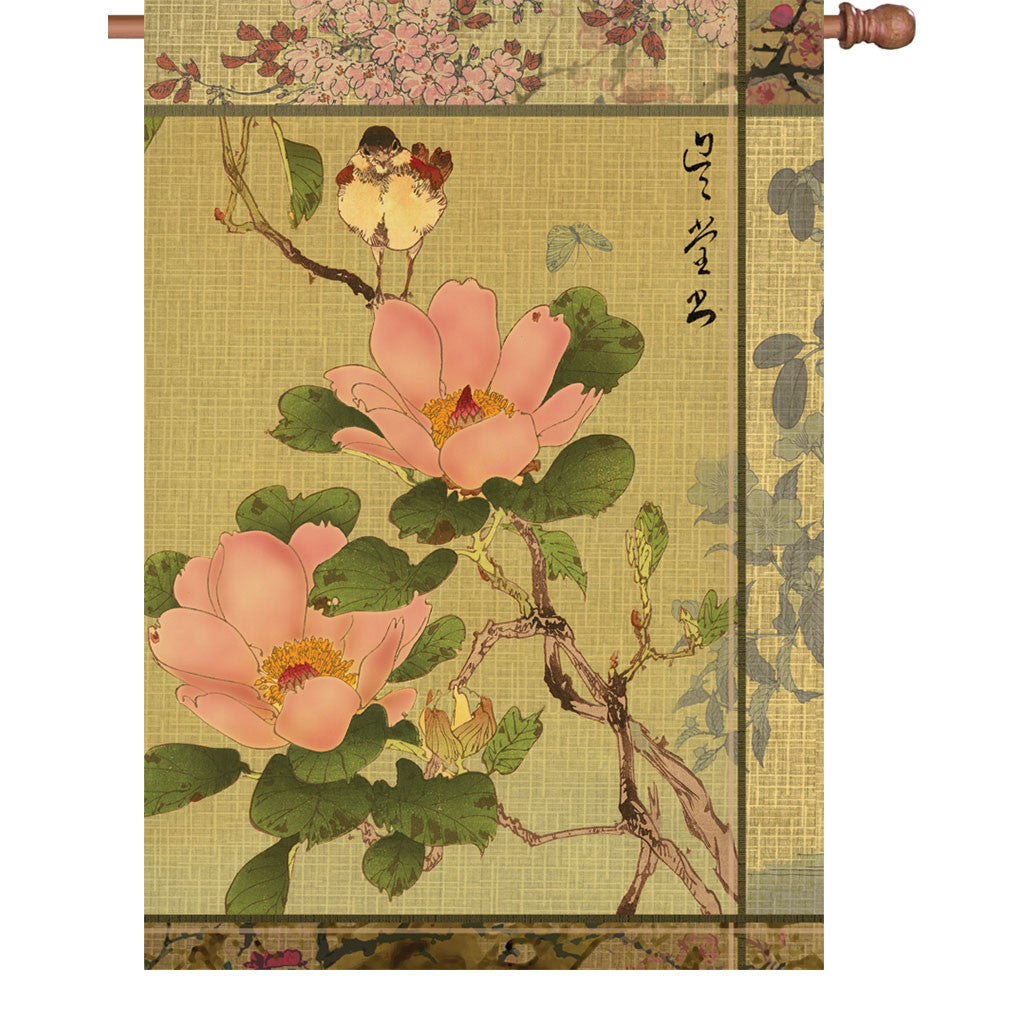 28 in. Asian House Flag - Peony And Bird